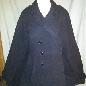BRAND NEW. Torrid. Long Black Pea Coat. Size 3.
